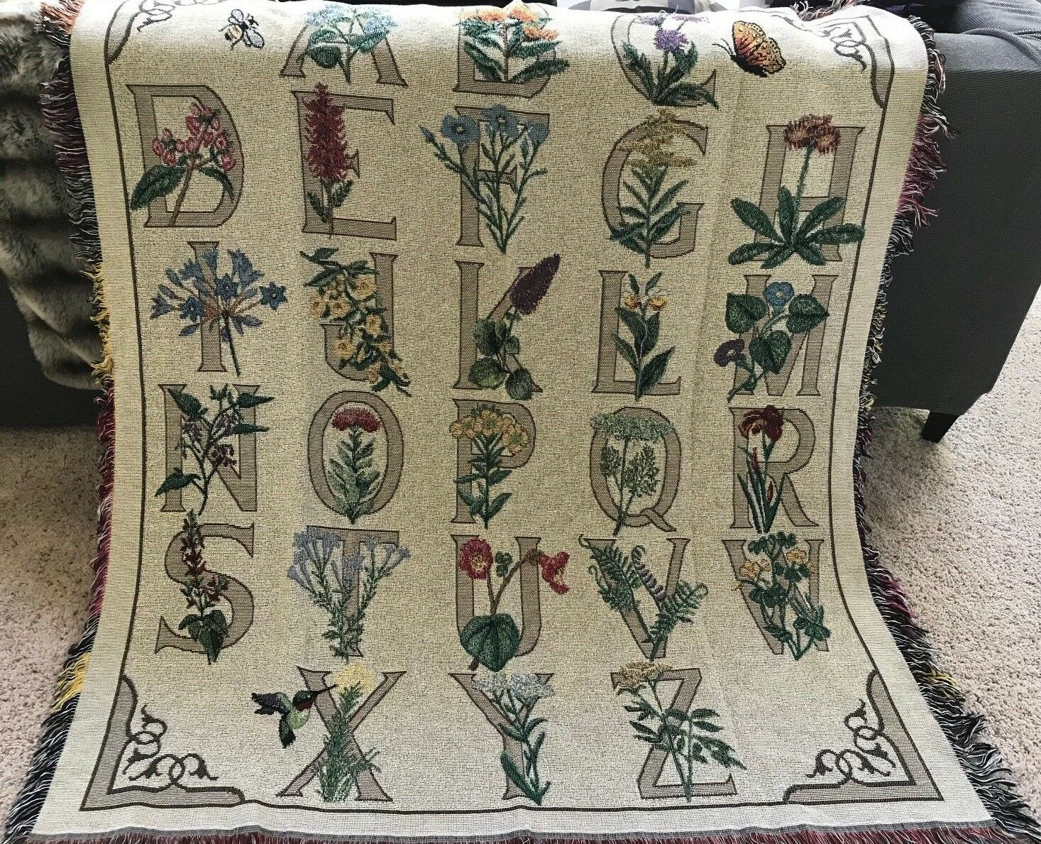 Tapestry Throw  Floral Alphabet  Woven Blanket Wall Afghan 60 x 50