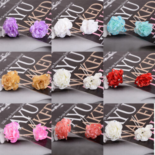 5Pcs Mariée Cristal Coloré Fleur Rose Mariage Prom Parti épingle à cheveux Clips Grip