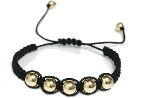 Details about  /Macrame Braided Round 14k Yellow Gold Bead Bracelet for Women and Men