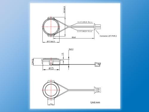 Micro Lautsprecher11-08H7.8W088 ΩØ18 x 7,8mmUltra Flach 2x Mini