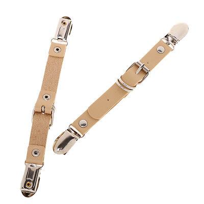 Pair Punk Brown Adjustable Garters Sock Stockings Suspender Belt Metal Clips