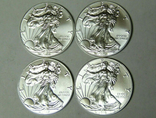 Lot of 4 American Silver Eagles 2017 2018 2019 2020 .999 Fine Silver Dollars