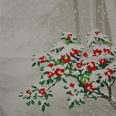 Furoshiki Wrapping Cloth Japanese Fabric Camellia Blanketed in Snow Cotton 50cm