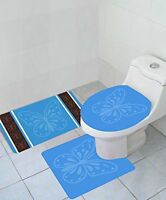 Butterfly 3 Piece High Pile Bathroom Set Bath Mat Rug & Lid Cover - Turquoise