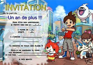 5 12 Ou 14 Cartes Invitation Anniversaire Yo Kai Watch Ref 348 Ebay