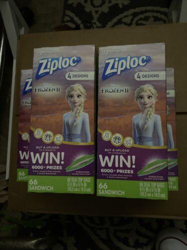 Easy Open Tabs Ziploc Sandwich Bags Featuring Disney Frozen Designs 66 Count