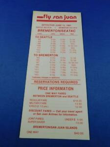 FLY-SAN-JUAN-AIRLINES-SCHEDULE-TIMETABLE-1981-ADVERTISING-BROCHURE-PRICES