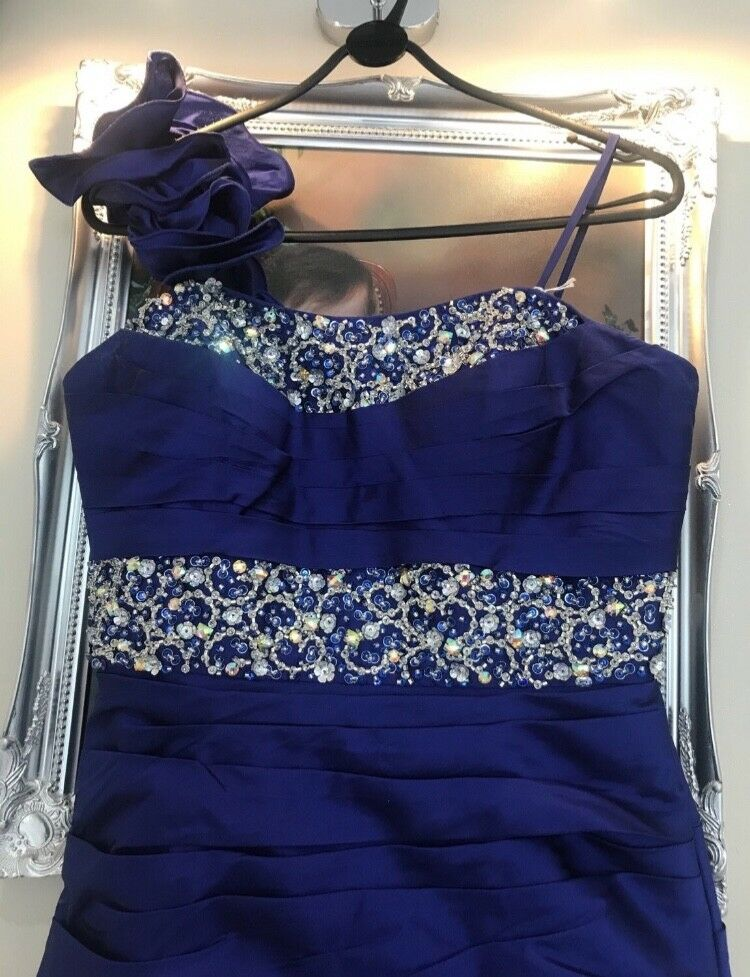 womens Madeline gardner royal blue designer mother of the bride dress