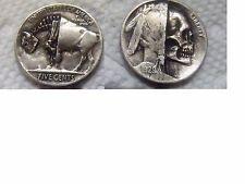 Hobo nickel coin Buffalo   half and half skull zombie skeleton  hand carved