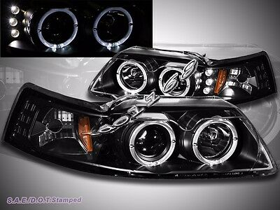 Ford 99-04 Mustang Pearl Black Dual Halo LED Clear Projector Headlights Lamps