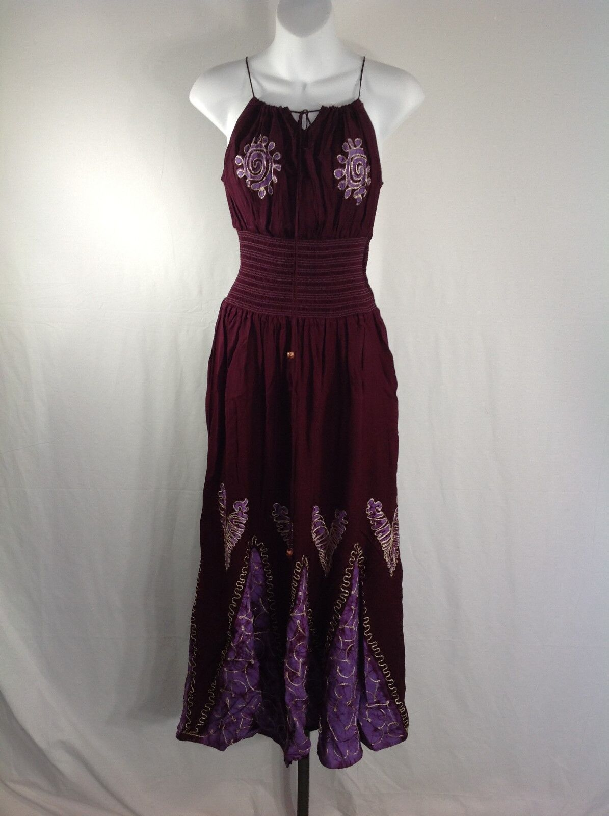 Maroon Purple Spaghetti Strap Dress One Size
