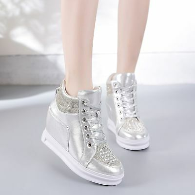 womens Sneakers Round Toe Wedge  Heel Creepers sport lace up Shoes Trainers