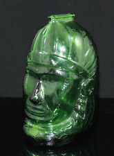 Green Glass Coin bank Native Indian head Wheaton NJ VTG piggy bank head dress