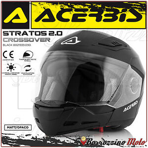 CASQUE-ACERBIS-STRATOS-2-0-CROSSOVER-INTEGRAL-JET-NOIR-MAT-MOTO-SCOOTER-TAILLE-S