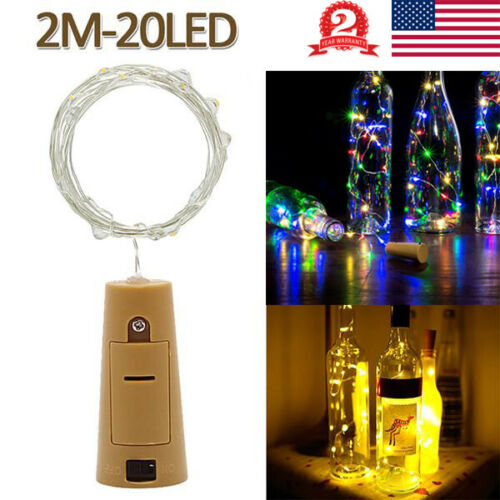 2M Wine Bottle Fairy String Lights 20 LED Battery Cork For Party Wedding Xmas US