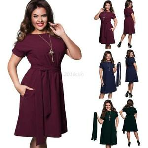 Plus-Size-Women-Evening-Party-Prom-Gown-Formal-Bridesmaid-Cocktail-Dress-w-Belt