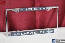1951 Chevy Chevrolet GM Licensed Front Rear Chrome License Plate Holder Frame