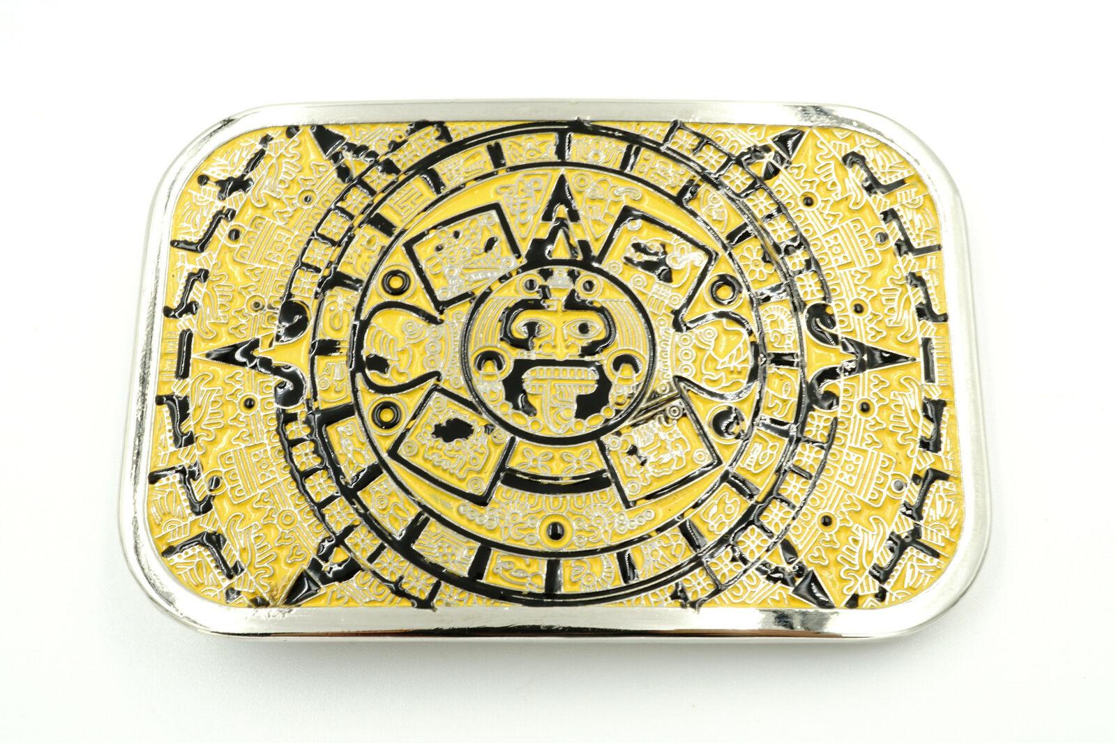 Aztec Mayan Calendar Black/Yellow Rectangle Metal Fashion Belt Buckle