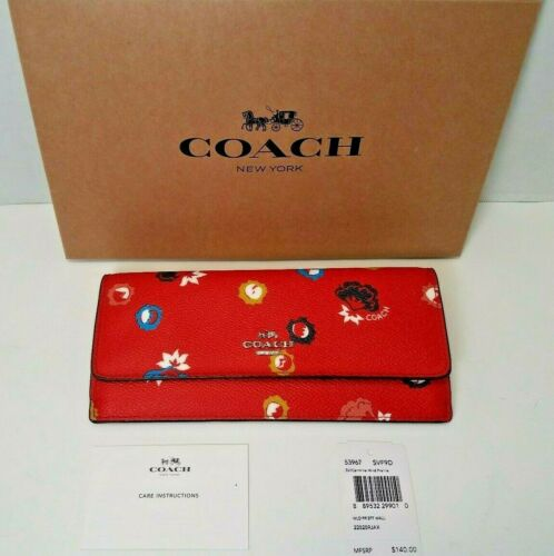 New Coach Wild Prairie Wallet 53967  Leather  Carmine Floral Red Signature W4