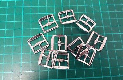 10 x Hebilla De Metal Una sola Punta Zapato BKL/guarnicionero Leather Craft Cinturón Correa 15 Mm] #