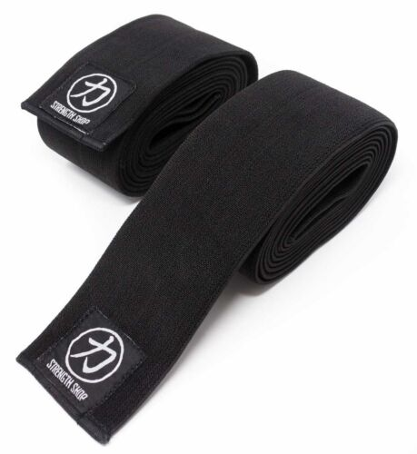 strongman powerlifting Strength Shop Thor Knee Wraps 2m and 2.5m Black