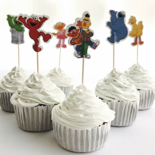 Party Supplies Lolly Loot Bag Elmo 12x Sesame Street CUPCAKE Food TOPPER Pick