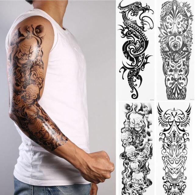 4 Sheets Large Totem Tattoo Sticker Body Art Men 3d Big Temporary ...