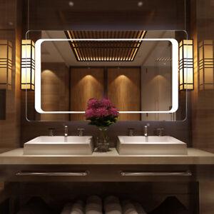 Image Is Loading Large Illuminated Led Bathroom Mirror Backlit Fog Demister