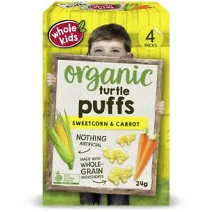 Whole Kids Organic Sweetcorn & Carrot Wholegrain Turtle Puffs 24 gram