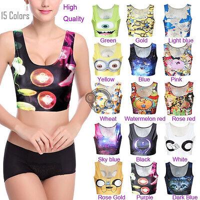 Sexy Womens Crop Top Vest Sleeveless Print Midriff Shirt Blouse Top Cami New j