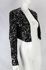 Guess NWT Sexy Women Sequin Studded Black Vest Evening Cropped Jacket sz XS $129