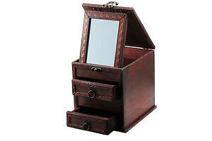 Schmuckkasten-aus-Holz-mit-Spiegel-Holzbox-Schminkspiegel-Schubladen-T35