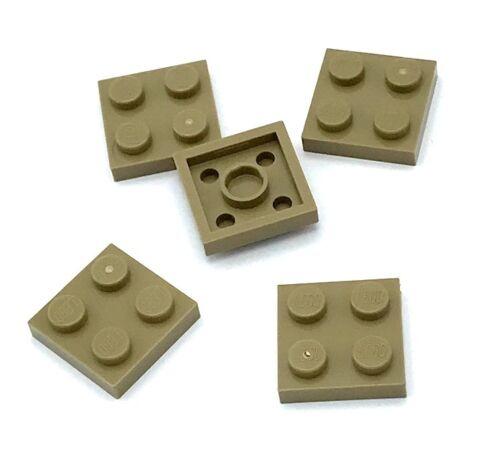 Lego 5 New Dark Tan Plate Pieces 2 x 2