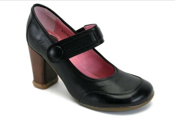John fluevog Soprano Soprano Soprano  Katia 9.5 9 Mary Jane Tacón Bomba Zapatos Negro rosado  descuento