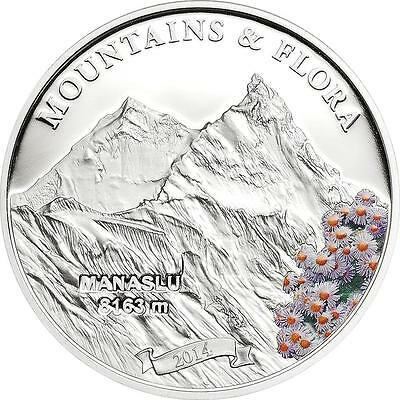 Palau 2012 $5 Mountains and Flora Lhotse Silver Coin Proof Mintage Only 2500!!!