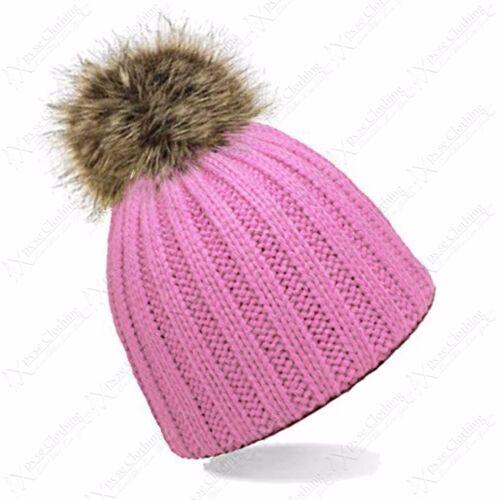 LADIES CHUNKY KNIT RIBBED BEANIE HAT FUR BOBBLE POM POM WNTER WARM GIRLS HATS