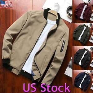 US-Mens-Zip-Up-Bomber-Jacket-Long-Sleeve-Sweatshirt-Coat-Blazer-Outwear-Slim-Top