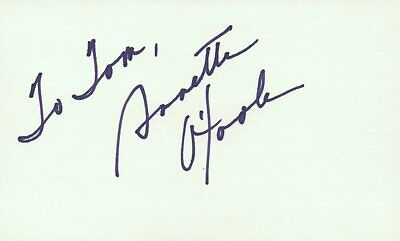 Annette O'neal Actress Singer 1978 Tv Movie Autographed Signed Index Card Lustrous Movies
