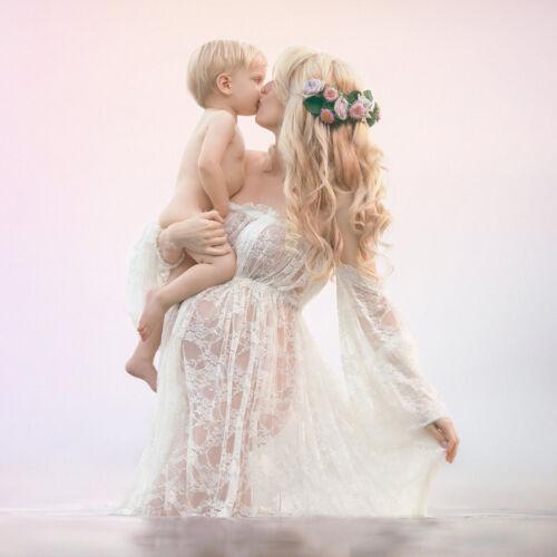 Mutterschaft Perspektive Spitzenkleid Umstandskleid Lange Schwangerschaftskleid