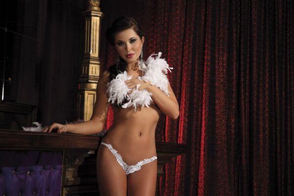 Damen String Spitze Weiß Spitzenstring Erotik Dessous Edel Ministring  S/M  L/XL