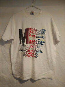 Mens-T-Shirt-Size-XL-White-Short-Sleeve-Spring-Fest-2003-Fruit-Of-Loom