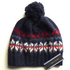 f13a259c7 Tommy Hilfiger Wool Retro Classic Navy Cuff Bobble Beanie Pompom Hat ...