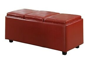 simpli home avalon extra large rectangular storage ottoman with 3 serving trays ebay. Black Bedroom Furniture Sets. Home Design Ideas