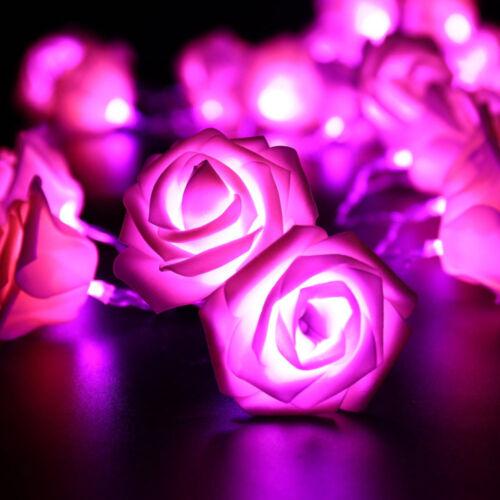 2.5M 20 LED Pile Fleur Rose Guirlande Lumineuse Mariage Fête Décoration De Noël