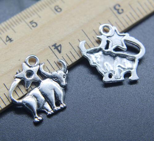 6//20//50pcs Retro Taurus Constellation Alloy Charms Pendants Jewelry DIY 21*20mm