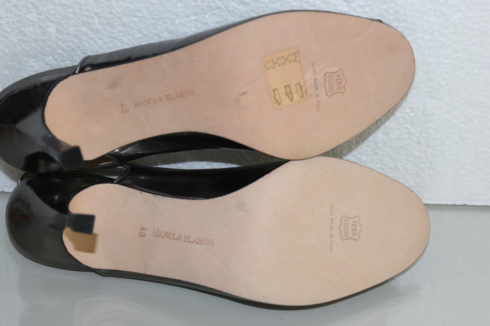NEW Manolo Blahnik Blahnik Blahnik Peep Toe Leather Slingback Silver Liq Metallic Grey shoes 40 84f40f