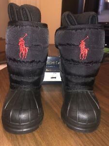 430deb3b9e2 Details about New Infant Polo Ralph Lauren Snow Boot Toddler Size 4 Black  Polo Snow Boots Kids