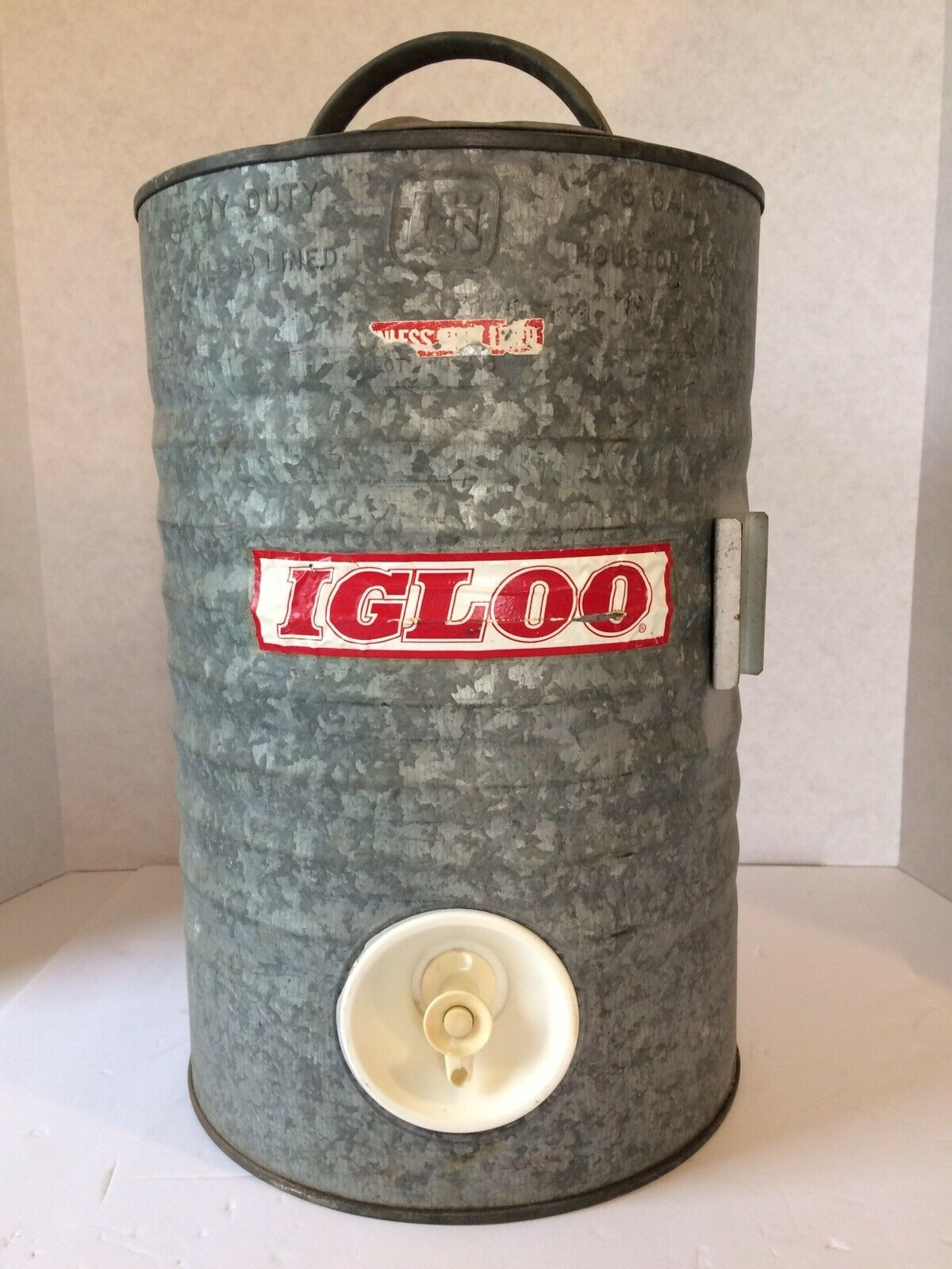 Vintage Igloo 3 Gallon Water Cooler - Stainless Lined Galvanized Steel - Rare
