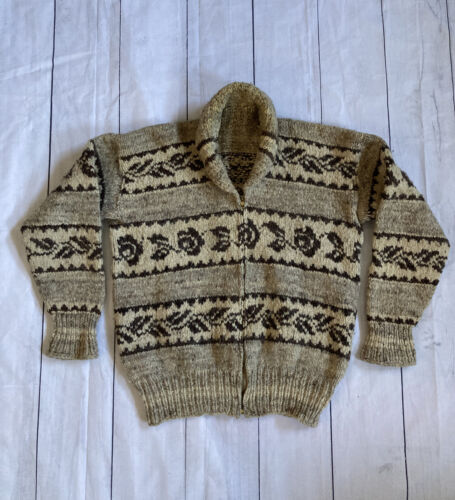 Vintage 1970s Cowichan Wool Knit Talon Zipper Shaw
