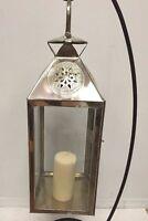 Moroccan Star Lantern Silver Metal & Glass Hanging Votive Lamp Candle Medium